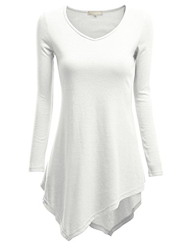 Clovery Womens designer tunics on sale summer t shirts ladies black t shirt WHITE XL