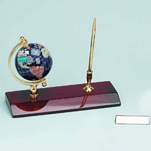 Executive Gemstone Globe Desktop Pen Holder