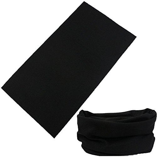 Multifunctional 16-in-1 Yoga Sports Fashion Travel Colors Headband Seamless Neck Uv Solid Moisture Wicking Bandana Turban Scarf (1black)
