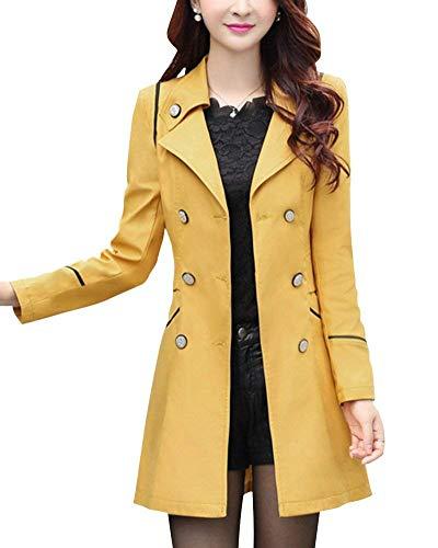 De Boutonnage Hiver Manches Fit Femme Transition Poches Slim Revers Branch Longues Manteaux Avant Parker Double Manteau Gelb Vent Coupe Costume gqxwwETzS