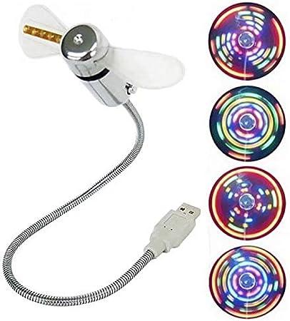 Usb vrai horloge led fan créatif serpentine ventilateur de température usb coloré led ventilateur clignotant