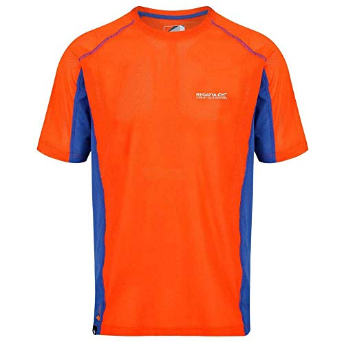 Regatta Mens Volito IV Ultra Lightweight T-Shirt (3XL) (Blaze Orange/Surfspray) ()