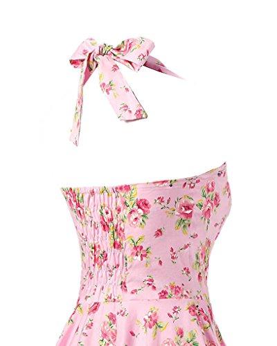 ... MISSMAO Vintage Rockabilly Kleid Blumen Neckholder Cocktailkleider 50s  Hepburn Kleid Festlich Petticoat Kleid Rosa   Forelle ... 738dc854cf