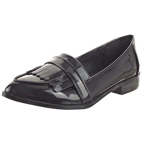 Sopily - Zapatillas de Moda Mocasines Bailarinas Tobillo mujer brillantes Talón Tacón ancho 2.5 CM - Negro