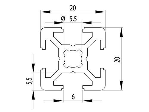 /Taglio 50/ Profilo in alluminio 20/x 20/tipo B scanalatura 6/ 2000/mm