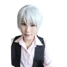 Cool2day Cosplay Wig Silver White Short Straight Fibre Hair Wig Hair Hairpiece Party Halloween Xmas Costume Props