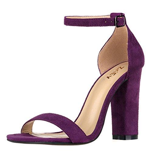 (ZriEy Women's Chunky Block Strappy High Heel Pump Sandals Fashion Ankle Strap Open Toe Shoes Velvet Purple)