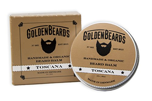 Organic Beard Balm -Toscana - 60ML - 100% Natural Golden Beards | Jojoba & Argan & Apricot Oil. All our products are 100% Handcrafted & Handmade. Made in Denmark