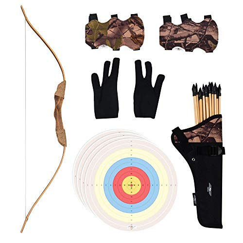 UTeCiA 30 Pcs Complete Archery Set for Kids & Beginners – Handcrafted Wooden Bow, Safety Rubber Tip Arrow Pack, Fabric Quiver, Arm Guard, Finger Glove, Target Sheets - Outdoor and Indoor Shooting Toy