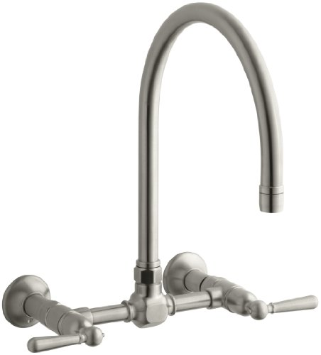 8' Reach Gooseneck Spout (KOHLER K-7338-4-BS HiRise Stainless Wall Mount Bridge Kitchen Faucet, Brushed Stainless)