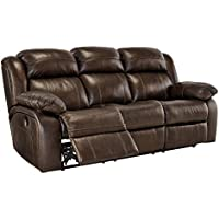 Ashley Furniture Signature Design - Branton Reclining Sofa - Leather Power Recliner Couch - Contemporary Style - Antique Brown