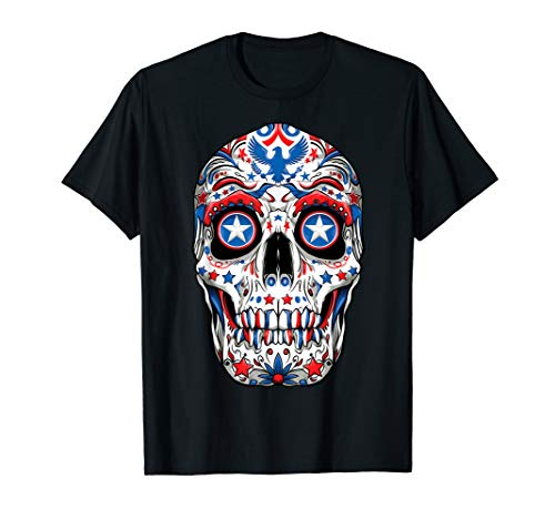 Sugar Skull 4th of July T shirt Women Men Boys Fourth USA