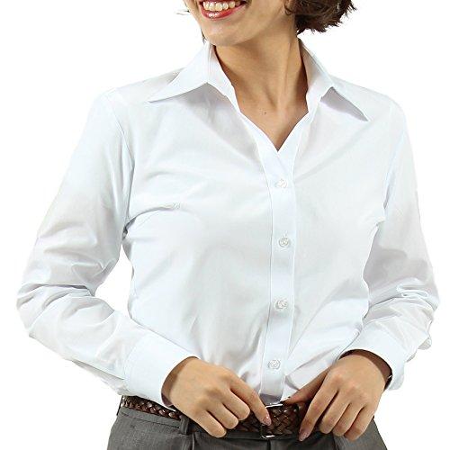 誇張バイアスサイトライン(ワワジャパン)WAWAJAPAN レディースワイシャツ 形態安定加工 NK-16 白無地 長袖開襟