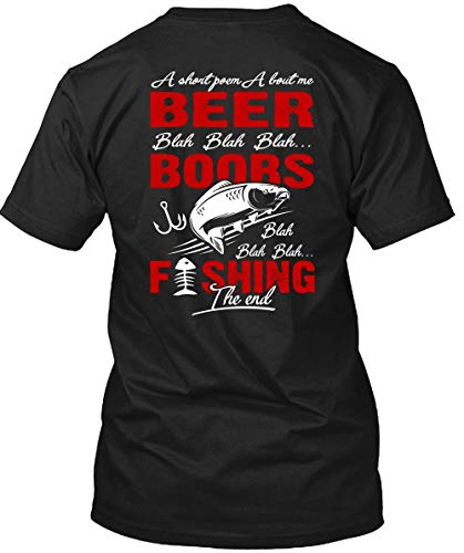 TIGER-KEY Cool-Fishing The End T Shirt, A Short Poem About Me Beer T Shirt Unisex (XL,Black) ()