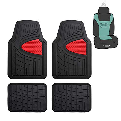 FH Group F11311 Premium Tall Channel Rubber Floor Mats w. Free Air Freshener, Red/Black Color