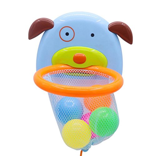 STOBOK Baby Bathtub Toy Shoot and Splash Basketball Hoop and 5 Balls Sets Puppy Shaped for Kids