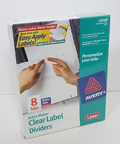 Index Maker, Laser, Punched, 8-Tab, 25/ST, White