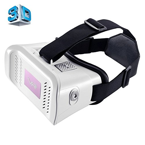 MZ100 Head-mounted Google Cardboard Version Virtual Reality DIY 3D VR Video Movie Game Glasses for iPhone 6 Plus, All 4.7-5.5 inch Smart Phones(White)