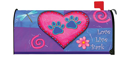 Toland Home Garden Love Live Bark Puppy Dog Heart Paw Magnetic Mailbox Cover - Mad Dog Bark