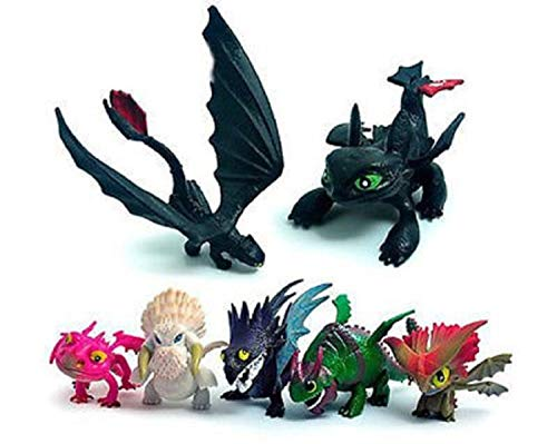 How To Train Your Dragon Toothless Night Fury Squirt and Float Dragons Set of 7 Pcs Toothless Action Figures Child Toys Gift Cake toppers