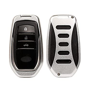 [MissBlue] Aircraft Aluminum Key Fob Cover For Toyota Remote Key, Protector Case Fits Toyota Smart Car Key, Unisex Leather Key Fob Keychain for Men Key Fob Holder for Women