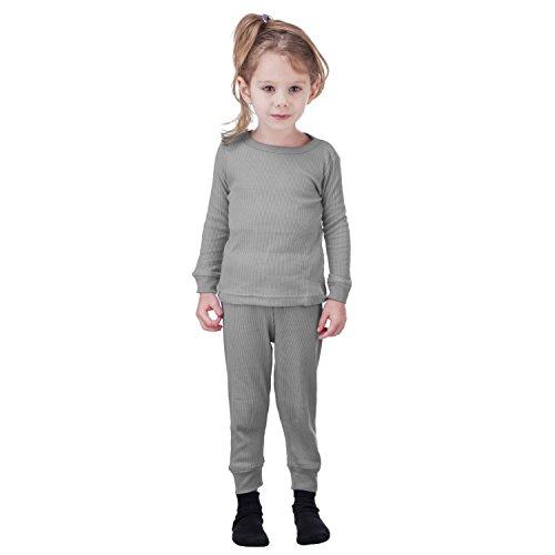 Artic Pole Zero Degree Girls Long Underwear Thermal Underwear Set (4, H Grey)
