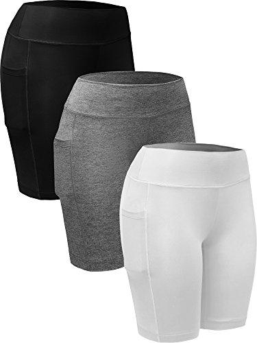 Neleus Women's Workout Compression Long Shorts with Pocket,9005,3 Pack,Black,Grey,White,US L,EU - Shorts Workout Spandex