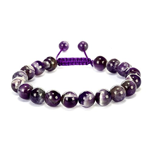 acelets Teeth Amethyst Natural Gemstones Birthstone Healing Power Crystal Beads Handmade 10mm Stretch Macrame Adjustable Loose Beads With Gift Box Unisex (Amethyst Power Bracelet)