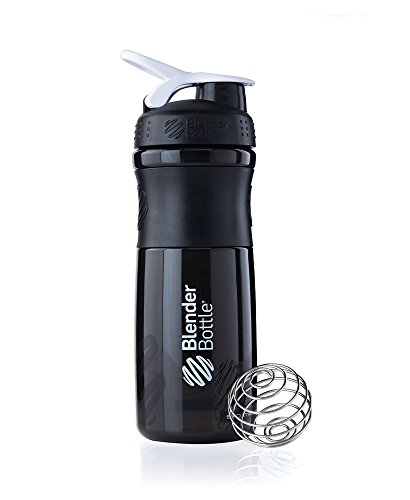 BlenderBottle SportMixer Tritan Grip Shaker Bottle, Black/White, 28-Ounce