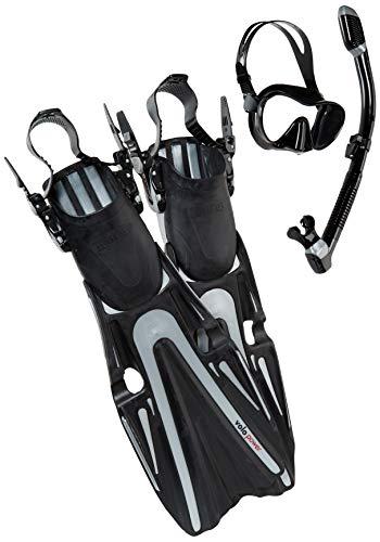 Mares Volo Power Fin Mask Snorkel Scuba Diving Gear Set, Black/Silver, X-Large, (11-13)