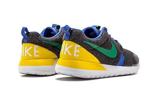 Nike Junior s–Rosherun QS (GS), color negro heather PN Verde Verdadera Amarillo Gris - gris