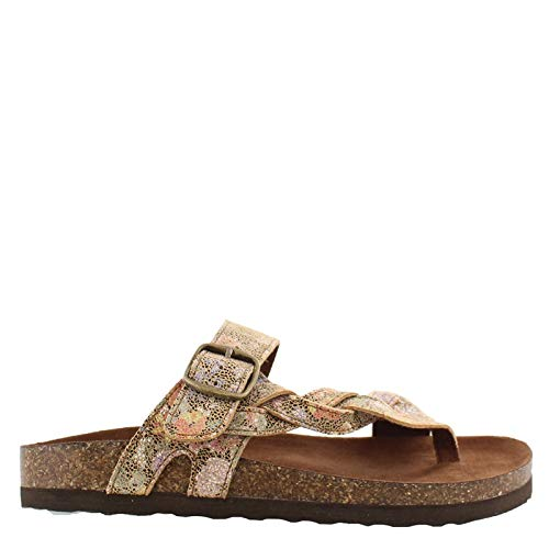 Floral Leather Thong Sandal - WHITE MOUNTAIN Women's Honor Brown Floral 9 M US