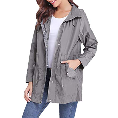 A Trench Hooded Impermeabile Antivento Vento Donna Coulisse Giacca Patchwork Cappotti Mxssi Grigio Casual Coat wXnHqCx