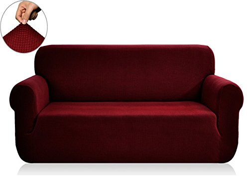 Washable Polyester Cover (CHUN YI Jacquard Sofa Covers 1-Piece Polyester Spandex Fabric Slipcover (Loveseat, Wine))