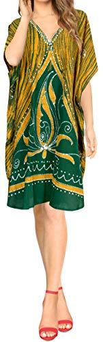 LA LEELA Cotton Batik  Knee Skirt Slit Caftan Sleepwear Green 133 One Size ()