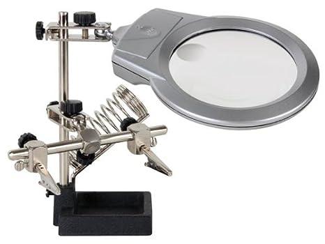 Veka - Tercera mano con lupa, lámpara LED, pinzas y soporte para soldadora: Amazon.es: Electrónica