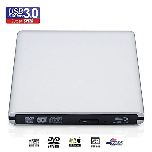 External Blu-ray DVD/BD/CD Drive, Portable DVD Drive,USB 3.0 Portable 3D 4K Blu-Ray DVD Player, Support Windows/Vista/7/8/10, Mac OSX and Linux OS (Silver)