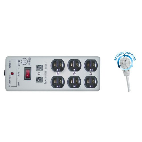 CableWholesale 6-Feet Surge Protector with Flat Rotating ...