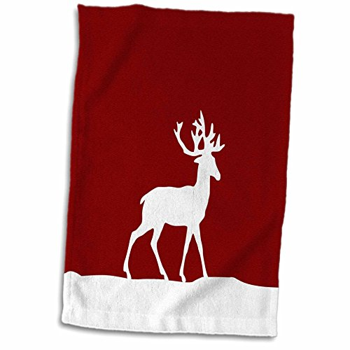 3D Rose Red Reindeer in The Snow - Stylish White Deer with Antlers Silhouette - Wintery Christmas Xmas Gift Hand/Sports Towel, 15 x 22 (Antlers Silhouette Deer)