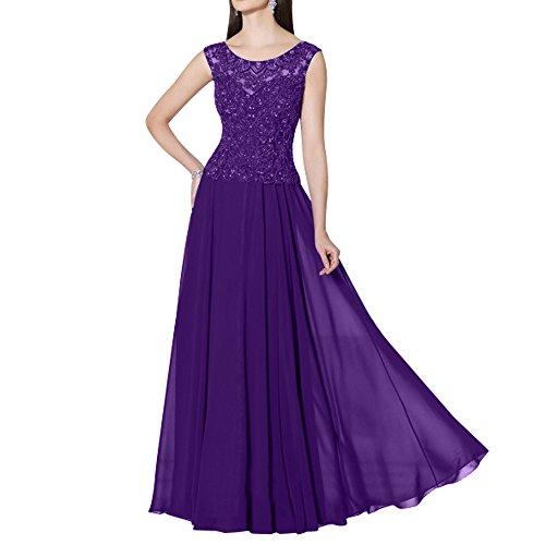 La_mia Brau Langes Spitze Brautmutterkleider Abendkleider Abschlussballkleider Festlichkleider Chiffon A-linie Rock Dunkel Lila ZxJex
