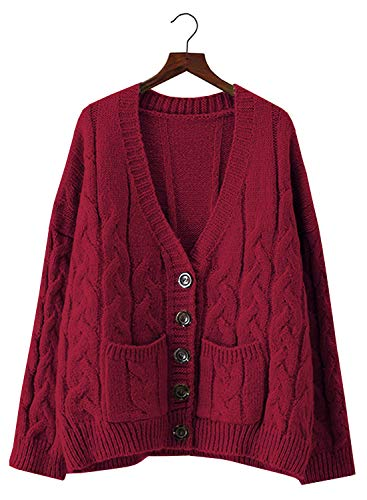 Doballa Women's Slouchy Grandad Cable Knit Button Down Chunky Cardigan Sweater with Pockets (One Size, Burgundy) (Mohair Cable)