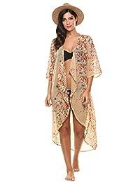 Meaneor Women's Chiffon Kimono Beach Bikini Cover Up Floral Cardigan