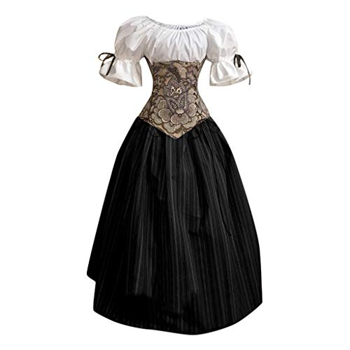 Forthery-Women Medieval Renaissance Costume Cosplay Short Sleeves
