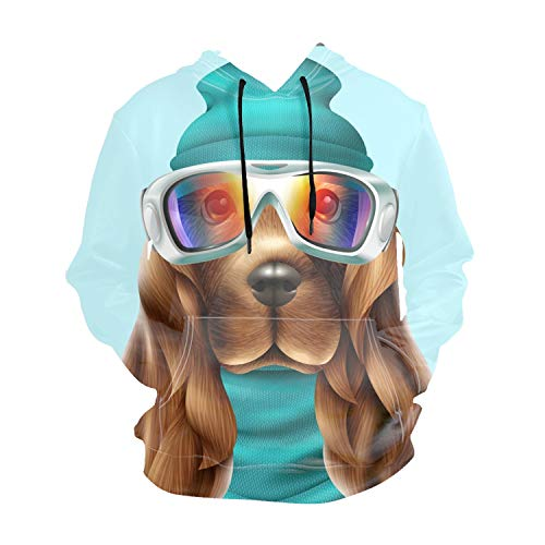 Imtailang Realistic Print Realistic Spaniel Dog Pullover Hooded Sweatshirt Hoodies Big Pockets