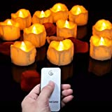 BERTERI Pack of 12 Remote Warm White Blink Plastic Fake Candles,Amber Wedding Candles,Flameless Halloween Candles,Birthday Candles