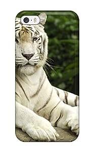 New Premium Flip Case Cover White Bengal Tiger Skin Case For Iphone 5/5s wangjiang maoyi