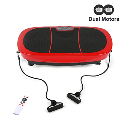Z ZELUS 3D Fitness Whole Body Vibration Platform Machine - 400W Dual Motors Vibration Plate Crazy Fit Massage Exercise Machine with Remote Control & Resistance Bands(Red) by Z ZELUS (Image #8)