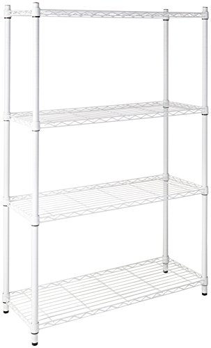 Four Unit Shelf - Honey-Can-Do SHF-01907 Adjustable Storage Shelving Unit, 250-Pounds Per Shelf, White, 4-Tier, 36Lx14Wx54H