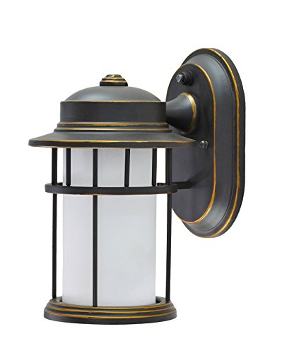 (Aspen Creative 60001 1 Light Small Outdoor Wall Light Fixture with Dusk to Dawn Sensor, Transitional Design in Aged Bronze Patina, 10 1/2