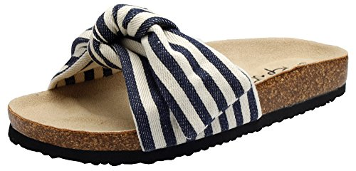 PepStep Slide Sandals for Women/Cork Sole/Canvas Knot Bow/Womens Slides/Sandals for Women (7.5, Stripe) ()
